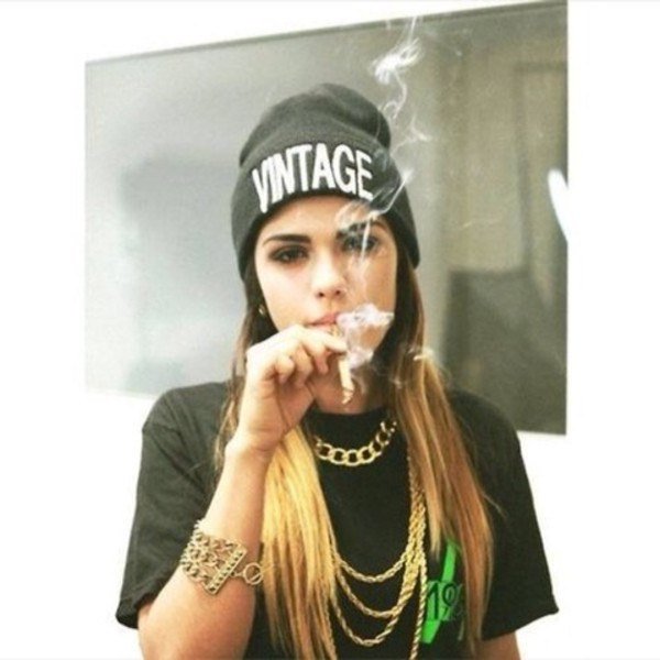 hat beanie grunge black smoke jewels