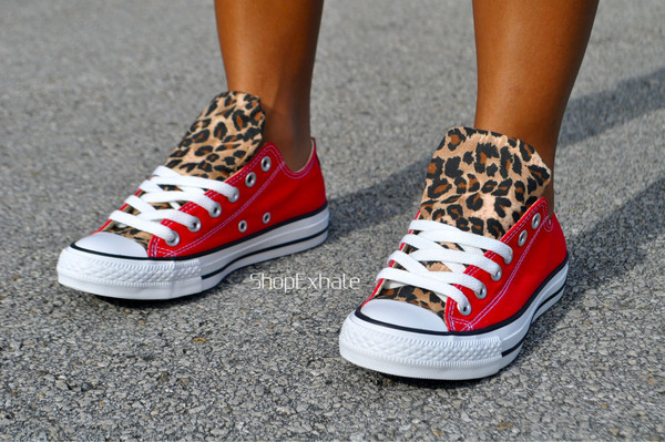 shoes converse leopard print low top sneakers