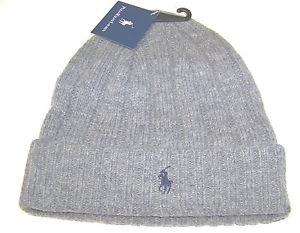 New Men's Ralph Lauren RL Grey Lambs Wool Pony Logo Ski Winter Hat Beanie Cap | eBay