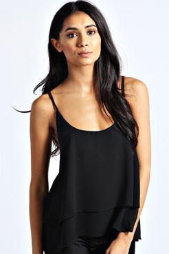 Mia Strappy Double Layer Woven Camisole at boohoo.com