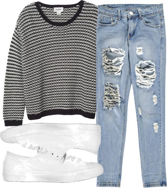 cool girl style white sneakers knitted sweater mom jeans mom jean cutoffs jeans shoes