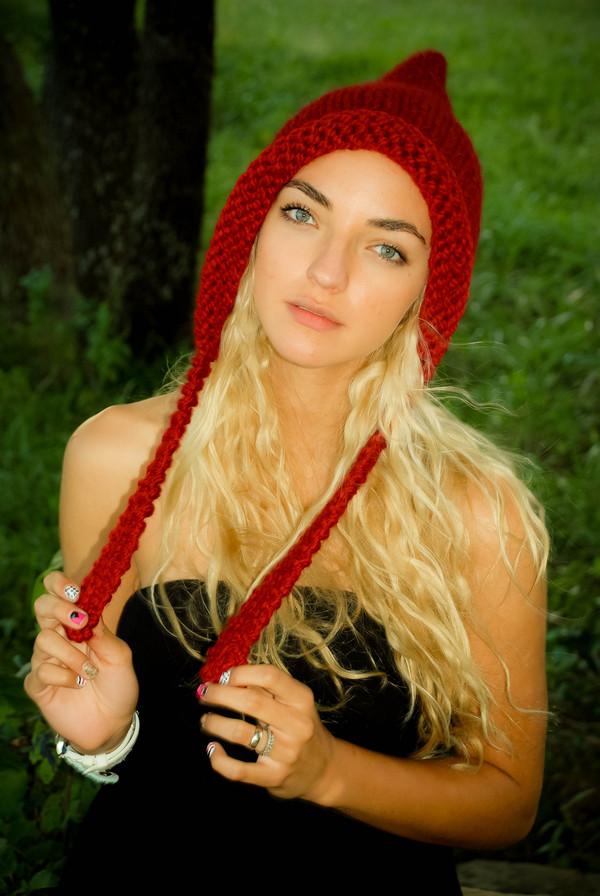 hat hat pixie hat elf hobbit hat winter knit hat