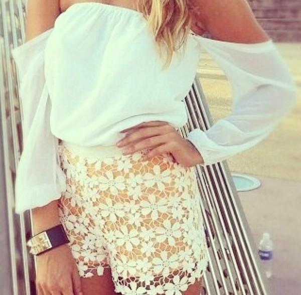 blouse white offshoulder summer