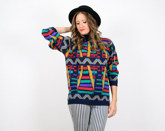 Vintage Cosby Sweater Rainbow Knit Jumper Mod by ShopTwitchVintage