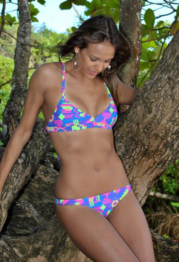 swimwear neon neon bikini bikini tribal pattern
