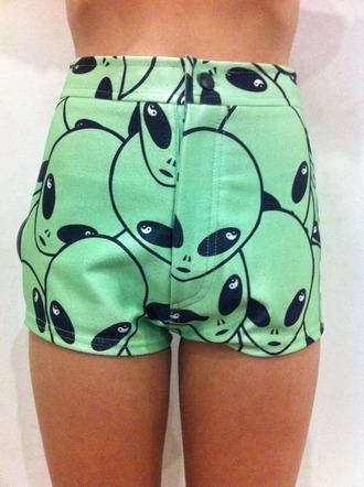 shorts alien green high waisted shorts alien shorts mint green shorts cute shorts short shorts summer shoes summer shorts vibrant retro chic hipster rad grunge soft ghetto printed shorts atropina jeans