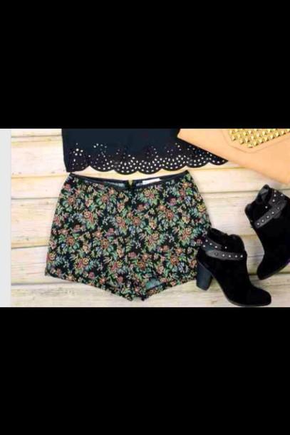shorts floral pattern girly stylish high rise shorts