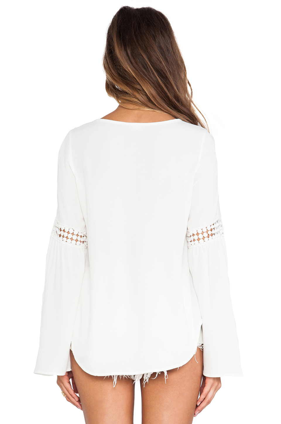 Surf Gypsy Crochet Inset Bell Sleeve Top in White | REVOLVE