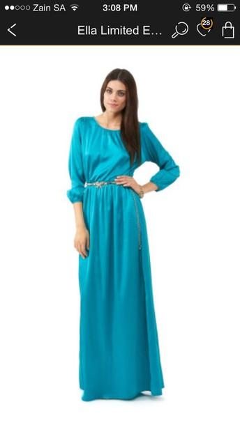dress cyan belted dress maxi dresss