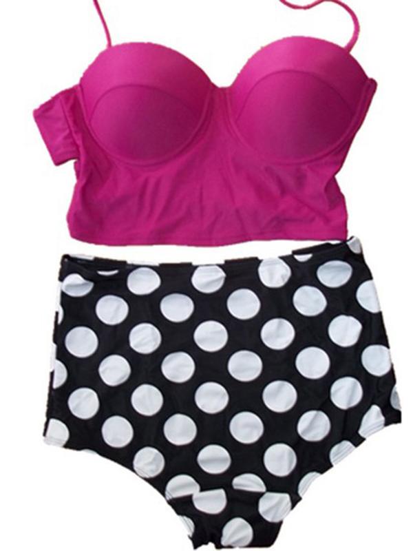 High Waisted Vintage Halterneck Polka Dot Print Lace Up Bikini Swimsuit : KissChic.com