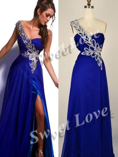 Actual Real Factory Sample One Shoulder Leaves Beaded Chiffon Prom Dress-in Prom Dresses from Apparel & Accessories on Aliexpress.com