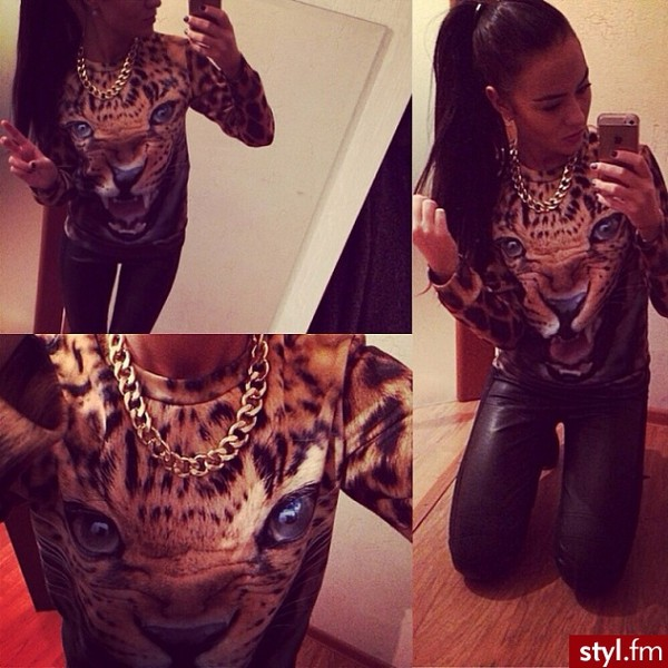 sweater gold tiger leopard print hoodie pants leggings bracelets