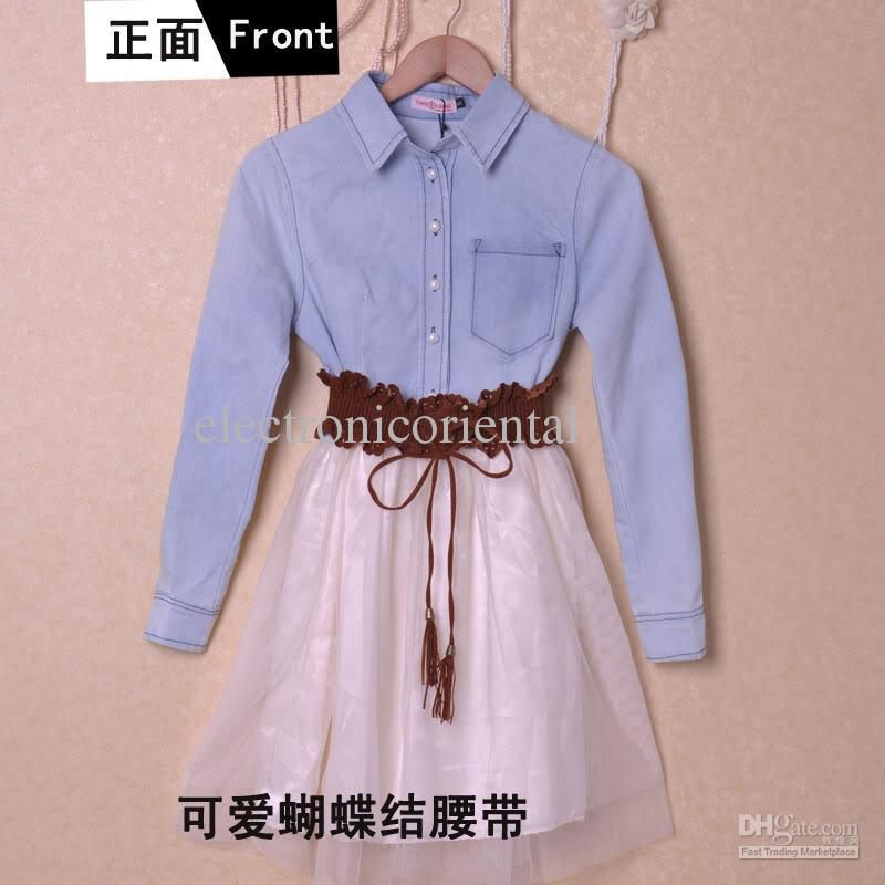 NWT Jean Blue Top Shirt Voile Dress with Belt S #D4E-in Dresses from Apparel & Accessories on Aliexpress.com