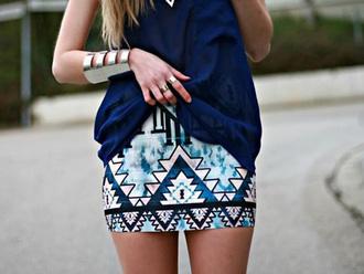 skirt aztec fashion girl summer style jewels shirt shiny print blue pink blue skirt fancy