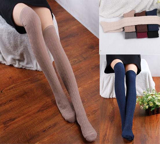 Fashion Women Knit Cotton Over Knee Thigh Stockings High Socks Pantyhose Tights | eBay