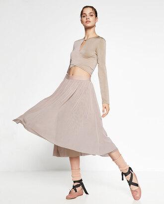 skirt ballerina feminine zara nude dress midi skirt