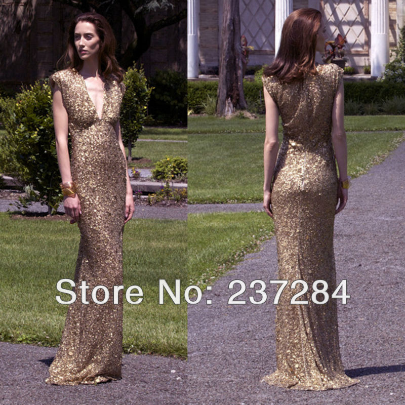 Aliexpress.com : Buy Hot Style Sheath V Neck Short Sleeves Gold Color Sequins Long Prom Dress 2014 Evening Formal Dress Women Dress from Reliable dress barn dress suppliers on Suzhou Babyonline