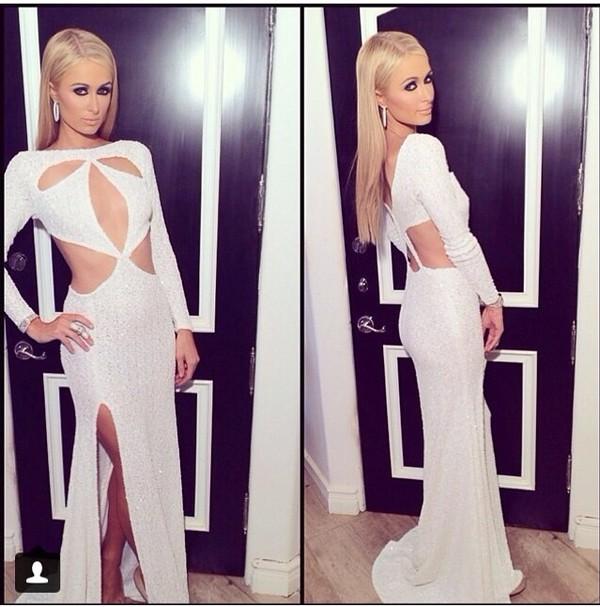 cut-out dress cut-out glitter dress glitter paris hilton bet awards 2014 sequin dress sequins white sequin dress white sequin silk evening dress