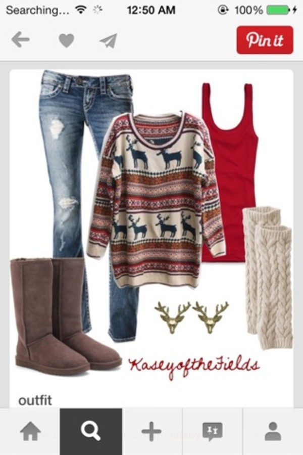 sweater moose warm blue red girly clothes clothes winter sweater jeans