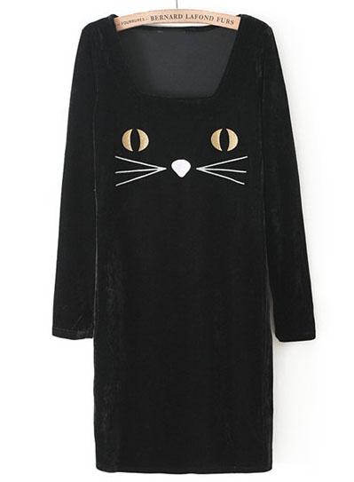 Black Long Sleeve Cat Face Print Velvet Dress - Sheinside.com