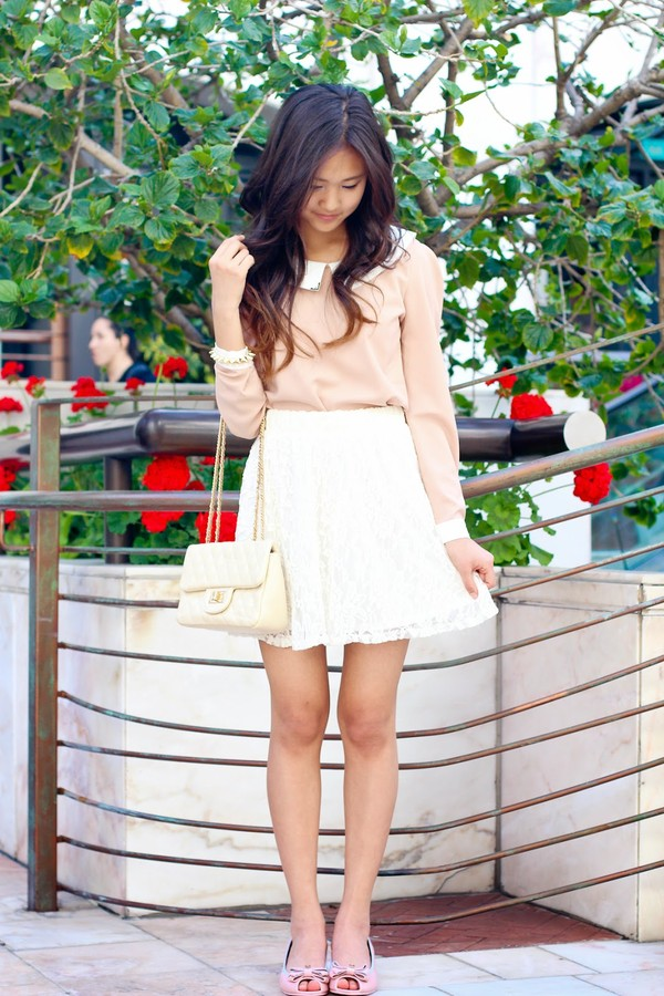 a flower child blouse skirt bag shoes