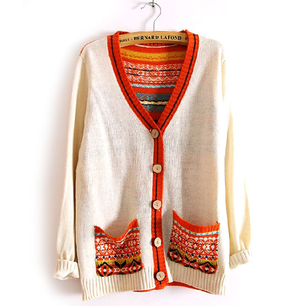 [grxjy560172]Folk Style Retro Mixing Color Floral Print Knit Cardigan on Luulla