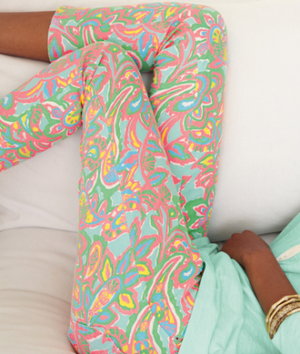 pants pattern cute pink blue yellow green cropped pants cropped clothes colorful