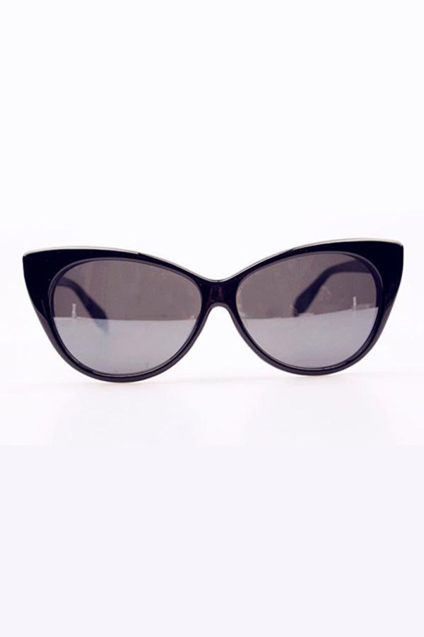 Glossy Black Oversized Cat Eye Sunglasses - OASAP.com