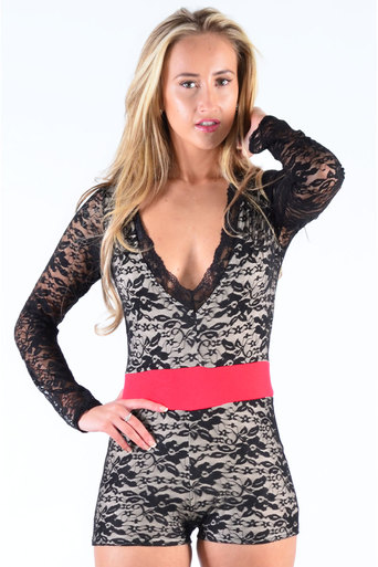 Ladies Ridley Lace Flower Print Playsuit In Black at Pop Couture UK