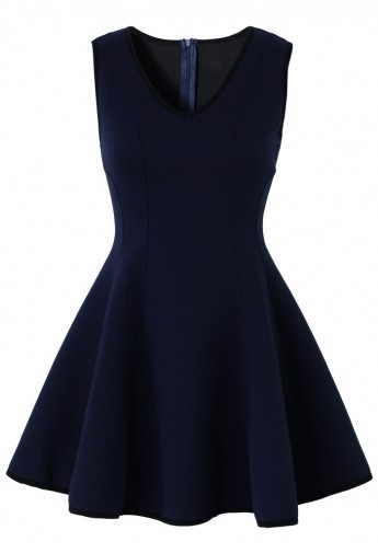 V-neck Skater Dress in Navy - Retro, Indie and Unique Fashion