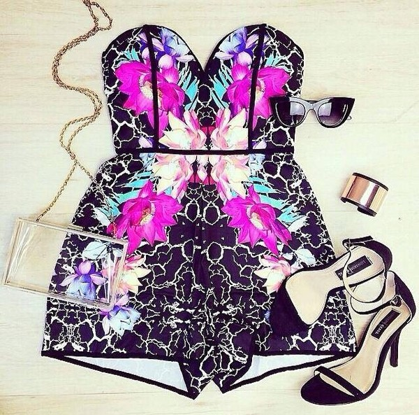 dress romper floral pink black white sunglasses bag jewels shoes romper shorts angelbiba size s or m