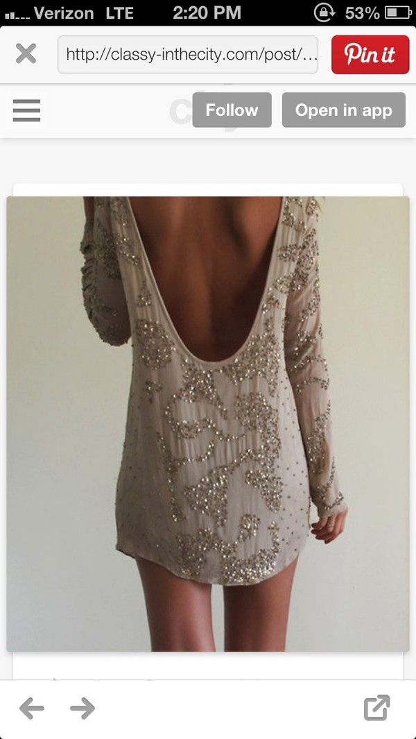 dress sparkly dress backless long sleeve dress beige dress cocktail dress