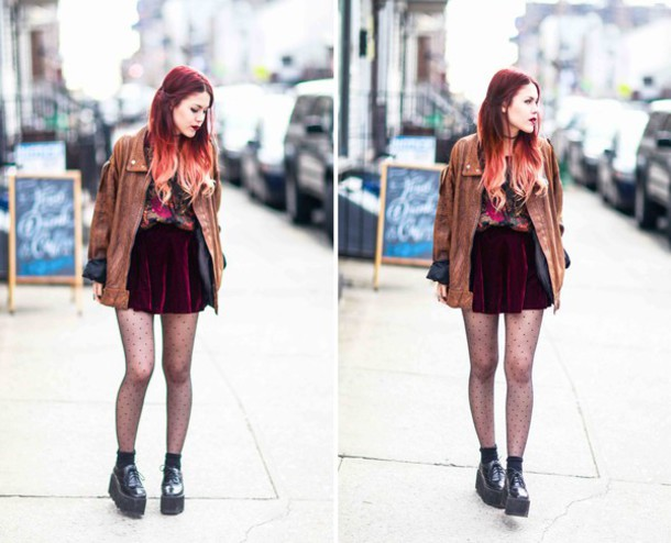 le happy blogger blouse jacket skirt shoes tights