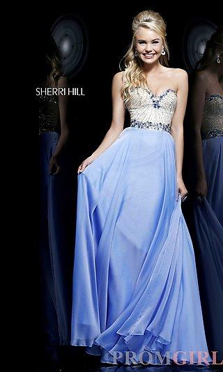 Sherri Hill Strapless Prom Dresses, Beaded Evening Gown -PromGirl