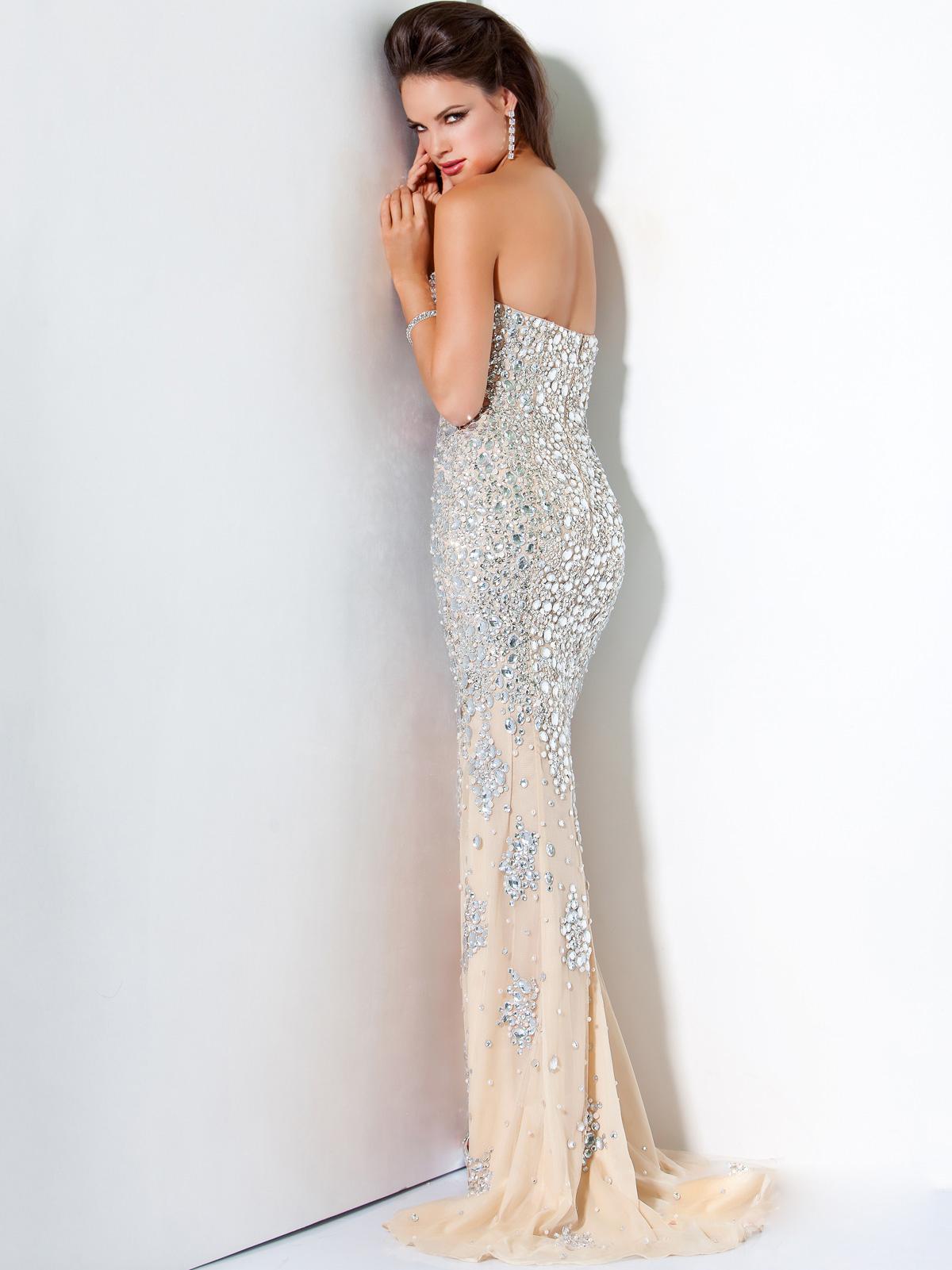 Silver Nude Crystal Encrusted Prom Evening Dress Jovani 4247 [SH165] - $258.00 :