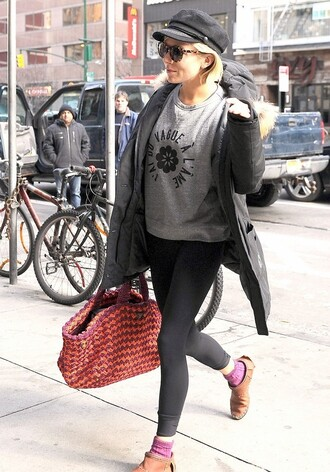 sweater sienna miller tote bag leggings sunglasses prada grey sweater fisherman cap bag