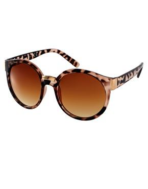 ASOS   ASOS Round Sunglasses With Mixed Bridge Detail at ASOS