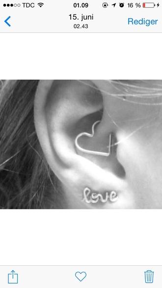 jewels silver jewelry earrings piercing ear piercings piercing jewels earings heart earrings heart
