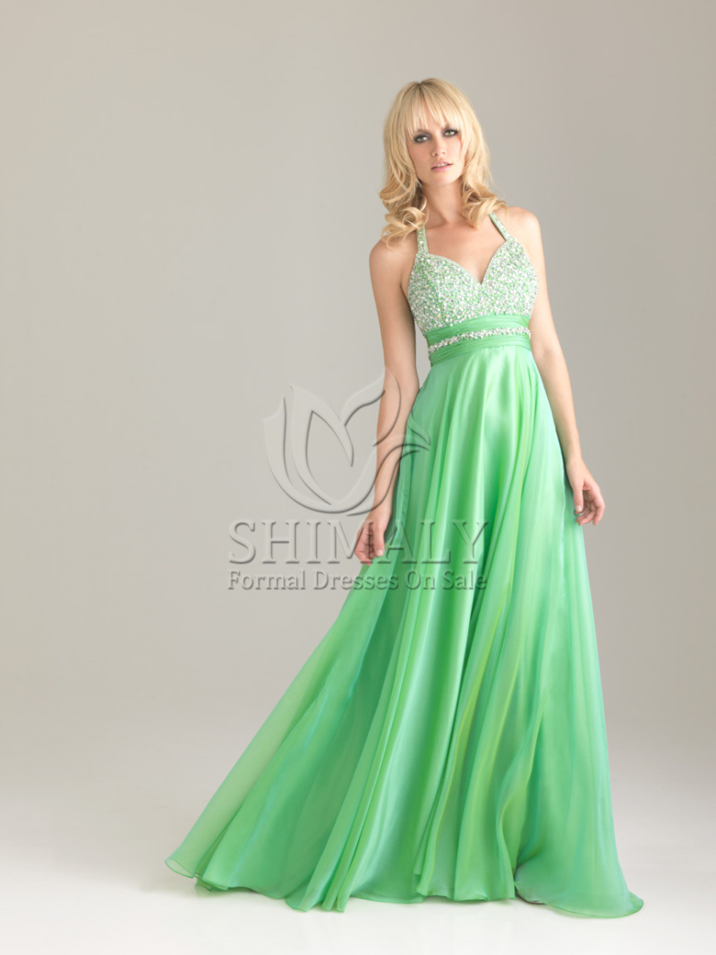 Green A-Line Halter Floor Length Zipper Prom Dresses With Sequined  | Cheap Custom Made sequin prom dresses on Sale at hiweddingdress.com