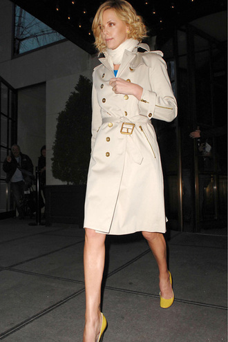 coat trench coat charlize theron