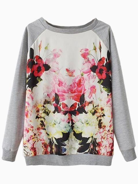 Gray Floral Splicing Sweatshirts   Choies