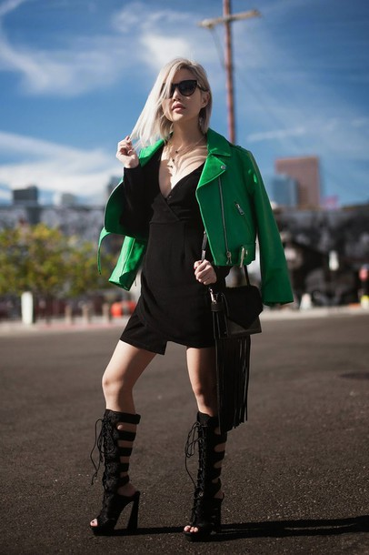feral creature blogger green jacket black dress gladiators dress jacket shoes