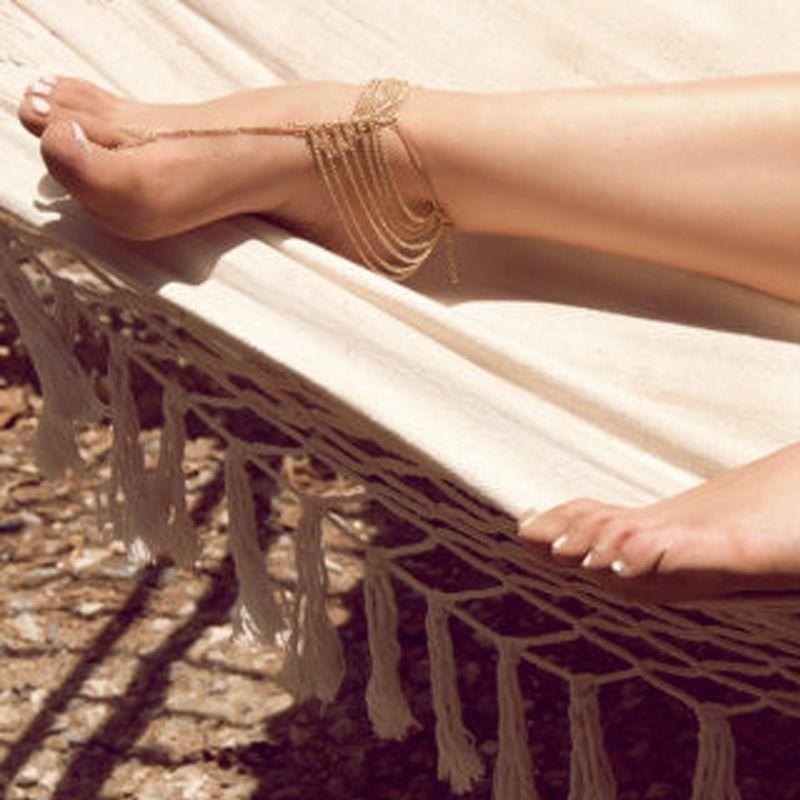 Gothic Boho Chain Tassel Foot Harness Toe Ring Barefoot Sandal Beach Anklet Hot | eBay