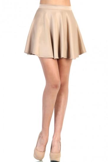 LoveMelrose.com From Harry & Molly | Cute Skater Skirt - Beige