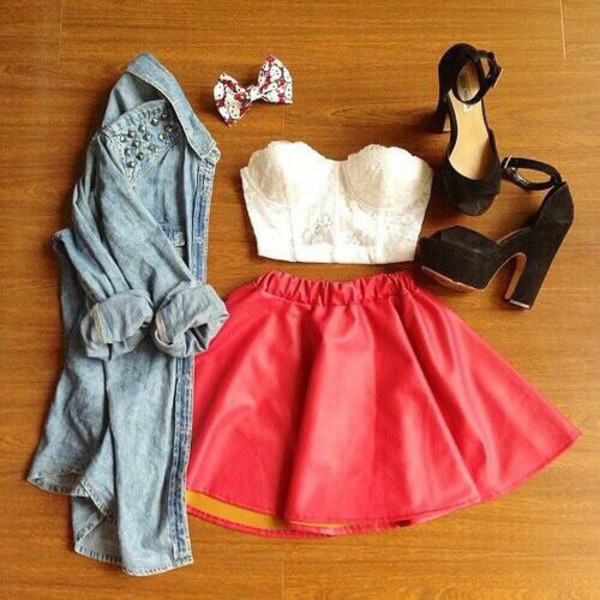 skirt jeans shows short sweet denim jacket shoes summer outfits top jacket
