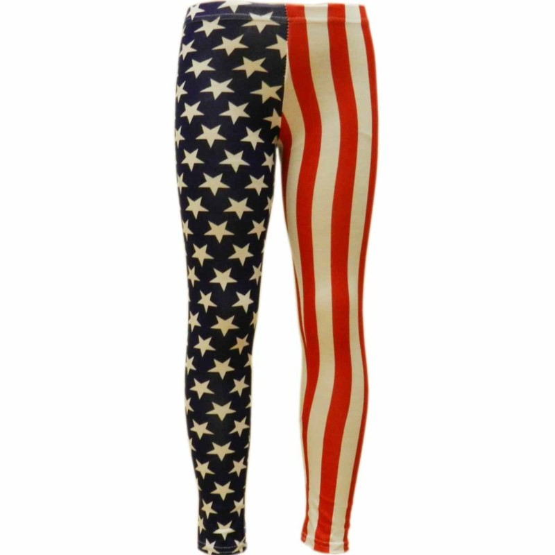 Ladies Star & Stripe American USA Flag Print Leggings In Small Size 12-14