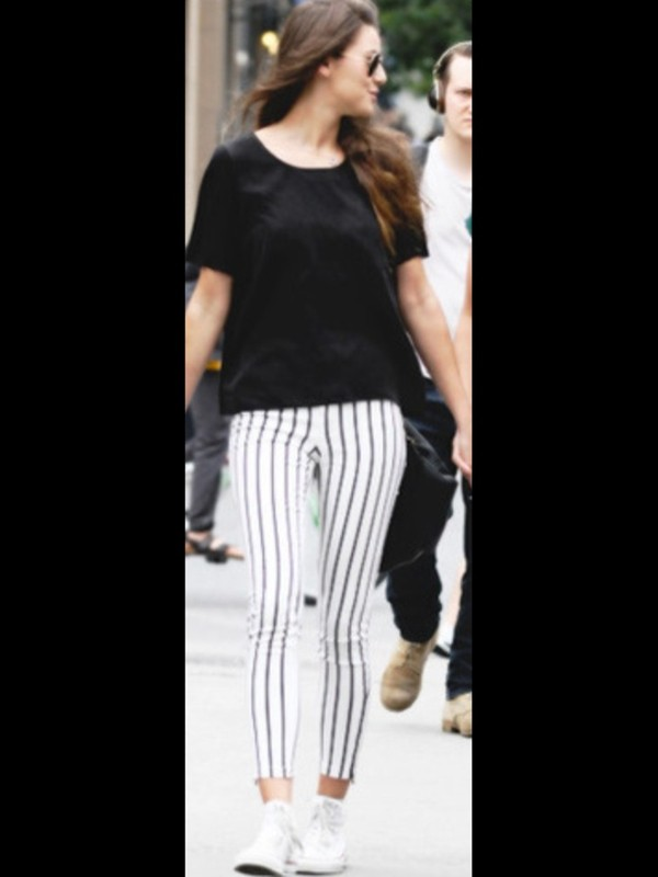 t-shirt stripes black and white jeans pants eleanor calder style striped pants