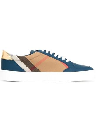 women sneakers lace leather cotton blue shoes