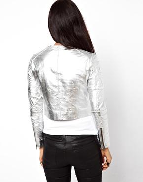 Muubaa | MuuBaa Mao Collerless Metallic Jacket in Lambs Leather at ASOS