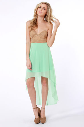 Pretty Bustier Dress - Color Block Dress - Strapless Dress - $40.00